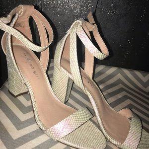 Iridescent Off White Heels